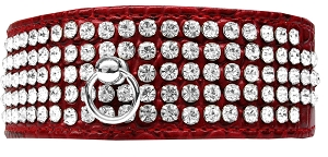 Mirage 5 Row Rhinestone Designer Croc Dog Collar Red Size 20